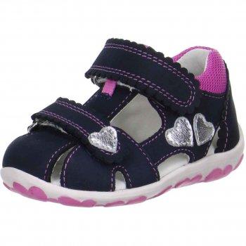 Сандалии закрытые (темно-синий)Обувь<br>Описание<br>Легкие и удобные сандалии SUPERFIT. Высокий, плотный задник и закрытая передняя часть надёжно зафиксируют и защитят ножку Вашего ребёнка от повреждений. Удобная застежка-липучка регулирует высоту подъема на  ноге ребека. Анатомическая стелька позаботится о правильном развитии ножек. Рельефная подошва произведена из нескользящих материалов. <br>Функциональные элементы: две липучки, анатомическая стелька, мягкая вставка в области задника от натирания.<br>Характеристики: <br>Верх: нубук/текстиль<br>Подкладка(внутренний материал): натуральная кожа.<br>Стелька: натуральная кожа<br>Подошва: полиуретан<br>Производитель: Superfit (Австрия)<br>Страна производства: Индия<br>Модель производится в размерах: 18-28<br>Коллекция: Весна/Лето 2018<br>Температурный режим<br>От +20 градусов и выше; Размеры в наличии: 21, 22, 23, 24, 25, 26, 27, 28.<br>