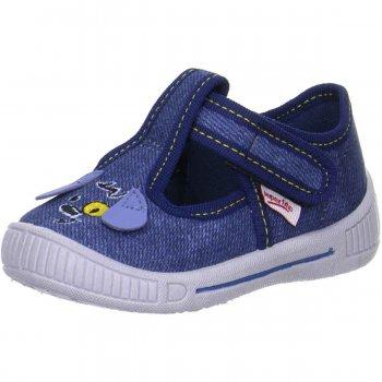 Сандалии текстильные (синий с собачкой)Обувь<br>Описание<br>Яркие текстильные сандалии. Легкая и удобная обувь, подходящая как для помещений, так и для улицы.<br>Функциональные элементы: липучка, регулирующая полноту в подъеме ноги.<br>Характеристики: <br>Верх: текстиль<br>Подкладка(внутренний материал): текстиль<br>Стелька: текстиль<br>Подошва: полиуретан<br>Производитель: Superfit (Австрия)<br>Страна производства: Индия<br>Модель производится в размерах: 18-26<br>Коллекция: Весна/Лето 2018<br>Температурный режим<br>От +20 градусов и выше; Размеры в наличии: 20, 21, 22, 23, 24, 25, 26.<br>