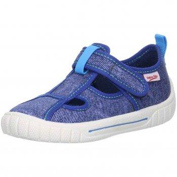 Сандалии текстильные (синий деним)Обувь<br>Описание<br>Яркие текстильные тапочки. Легкая и удобная обувь, подходящая как для помещений, так и для улицы.<br>Функциональные элементы:<br>Характеристики: <br>Верх: текстиль<br>Подкладка(внутренний материал): текстиль<br>Стелька: текстиль<br>Подошва: полиуретан<br>Производитель: Superfit (Австрия)<br>Страна производства: Индия<br>Модель производится в размерах: 23-38<br>Коллекция: Весна/Лето 2018<br>Температурный режим<br>От +15 градусов и выше; Размеры в наличии: 27, 28, 29, 30, 31, 32, 33, 34, 35, 36.<br>