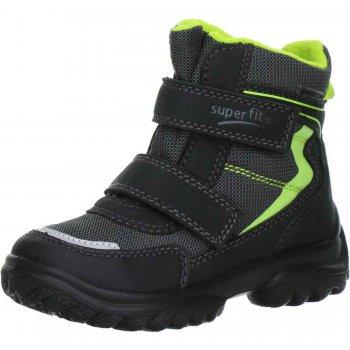 Ботинки SNOWCAT (серый с салатовым)Обувь<br>Материал<br>Верх: Велюр. Текстиль.<br>Подошва: полимерные материалы<br>Подкладка (внутренний материал): Зимний утеплитель, стелька: шерсть.<br>Описание<br>Легкие и мягкие зимние ботинки для детей с мембраной Gore-Tex. <br>Функциональные элементы: вшитый язычок, застежка на липучке, мягкая не скользящая подошва.<br>Коллекция Осень/Зима 2016<br>Производитель: Superfit (Австрия)<br>Страна производства: Индия<br>Температурный режим<br>От 0 до -20 градусов; Размеры в наличии: 25, 26, 27, 28, 29, 30, 31, 32, 33, 34, 35.<br>