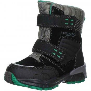 Ботинки CULUSUK (черный с зеленым)Обувь<br>Материал<br>Верх: Велюр. Текстиль.<br>Подошва: полимерные материалы<br>Подкладка (внутренний материал): Зимний утеплитель, стелька: шерсть.<br>Описание<br>Легкие и мягкие зимние ботинки для детей с мембраной Gore-Tex. <br>Функциональные элементы: вшитый язычок, застежка на липучке, мягкая не скользящая подошва.<br>Производитель: Superfit (Австрия)<br>Коллекция Осень/Зима 2016<br>Страна производства: Индия<br>Температурный режим<br>От 0 до -20 градусов<br>; Размеры в наличии: 27, 28, 29, 30, 31, 32, 33, 34, 35, 36, 37, 38.<br>