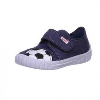 Тапочки текстильные (синий с мячом)Обувь<br>Описание<br>Яркие текстильные тапочки. Легкая и удобная обувь, подходящая как для помещений, так и для улицы.<br>Функциональные элементы:<br>Характеристики<br>Верх: текстиль<br>Подкладка(внутренний материал): текстиль<br>Стелька: текстиль<br>Подошва: полиуретан<br>Производитель: Superfit (Австрия)<br>Страна производства: Индия<br>Модель производится в размерах: 23-38<br>Коллекция: Весна/Лето 2018<br>Температурный режим<br>От +15 градусов и выше; Размеры в наличии: 27, 28, 29, 30, 31, 32, 33, 34, 35, 36.<br>