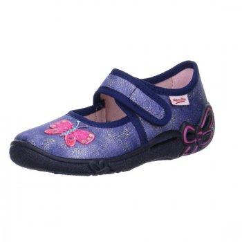 Сандалии текстильные (деним с бабочкой)Обувь<br>Описание<br>Яркие текстильные тапочки. Легкая и удобная обувь, подходящая как для помещений, так и для улицы.<br>Функциональные элементы:<br>Характеристики: <br>Верх: текстиль<br>Подкладка(внутренний материал): текстиль<br>Стелька: текстиль<br>Подошва: полиуретан<br>Производитель: Superfit (Австрия)<br>Страна производства: Индия<br>Модель производится в размерах: 23-35<br>Коллекция: Весна/Лето 2018<br>Температурный режим<br>От +15 градусов и выше; Размеры в наличии: 26, 27, 28, 29, 30, 31, 32.<br>