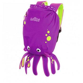Рюкзак для бассейна и пляжа ОсьминогОдежда<br>Водоотталкивающий рюкзак Trunki сделан в виде симпатичного фиолетового осьминога. Его точно оценят все маленькие исследователи. Рюкзак сделан из легкого и прочного материала, он прекрасно защищен от влаги и грязи.   Размер рюкзака: 49,5 х 41 см <br> Производитель: Trunki (Великобритания)<br> Страна производства: Китай<br> Коллекция: Весна/Лето 2018; Размеры в наличии: б/р.<br>
