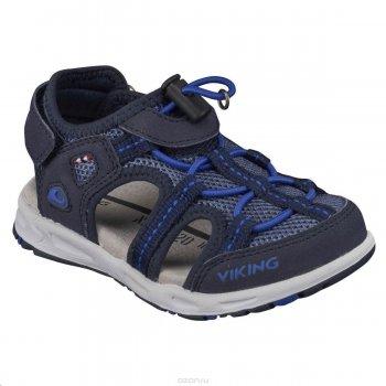 Сандалии закрытые Thrill (синий)Обувь<br>Описание: <br>Яркие и легкие закрытые сандалии для детей от 3 лет до подросткового возраста. Регулируемый с помощью липучки задник и эластичный шнур с фиксатором дают возможность более точно подогнать обувь по ноге, обеспечивают удобство и комфорт. Такие сандалии отлично подойдут для активных прогулок, катания на самокатах/велосипедах и тд.<br>Функциональные элементы: <br>Характеристики: <br>Верх:55% экокожа (100% полиуретан) / 45% текстиль (100% полиэстер)<br>Подошва: натуральная резина<br>Подкладка: текстильная подкладка (100% полиэстер)<br>Производитель: Viking (Норвегия)<br>Страна производства: Вьетнам<br>Модель производится в размерах: 24-35<br>Коллекция: Весна-Лето 2018<br>Температурный режим: <br>; Размеры в наличии: 24, 25, 26, 27, 28, 29, 30, 31, 32, 33, 34, 35.<br>