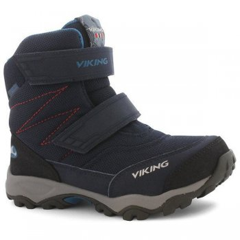 Ботинки BIFROST III GTX (синий)Обувь<br>Материал<br>Верх: 80% текстиль, 20% экокожа<br>Внутренняя отделка: мембранная подкладка GORE-TEX (100% полиэстер)<br>Подошва: натуральная резина<br>Описание<br>Производитель: Viking (Норвегия)<br>Страна производства: Вьетнам<br>Модель производится в размерах: 28-41<br>Обувь Viking можно стирать в стиральной машине при температуре 30 градусов<br>Коллекция Осень/Зима 2017<br>Температурный режим<br>От 0 до -30 градусов; Размеры в наличии: 31, 32, 33, 34, 35, 36, 37, 38, 39, 40, 41.<br>