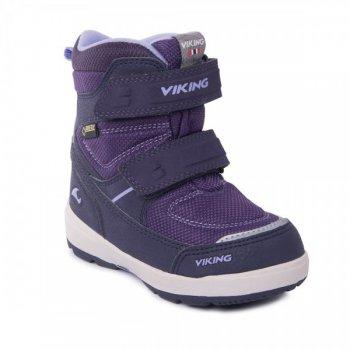 Ботинки SKAVL II GTX (фиолетовый)Обувь<br>Материал<br>Верх: 100% текстиль<br>Внутренняя отделка: мембранная подкладка GORE-TEX (100% полиэстер)<br>Подошва: натуральная резина<br>Описание<br>Производитель: Viking (Норвегия)<br>Страна производства: Вьетнам<br>Модель производится в размерах: 21-30<br>Обувь Viking можно стирать в стиральной машине при температуре 30 градусов<br>Коллекция Осень/Зима 2017<br>Температурный режим<br>От 0 до -30 градусов; Размеры в наличии: 21, 22, 23, 24, 25, 26, 27, 28, 29, 30.<br>