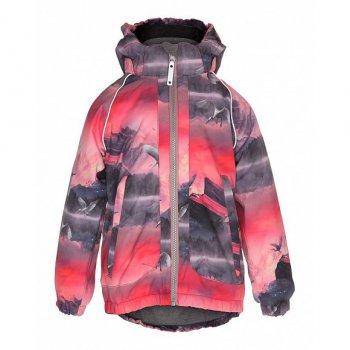 Куртка Pink Mountains (розовый с принтом)Куртки<br>Материал: <br>Верх: 100% полиэстер<br>Утеплитель:  3M Thitsulate<br>Подкладка: 100% полиэстер (флис)<br>Водонепроницаемость: 10000 мм<br>Паропроводимость: 8000 г/м2/24ч<br>Износостойкость: нет данных<br>Описание: <br>Функциональные элементы: капюшон отстегивается с помощью липучек, защита подбородка от защемления, карманы на молнии, манжеты на резинке, утяжка на талии, светоотражающие элементы.<br>Производитель: Molo (Дания)<br>Страна производства: Китай <br>Коллекция: Осень/Зима 2017<br>Температурный режим:  <br> от +5 до -15 градусов; Размеры в наличии: 104, 110, 122, 128, 134, 140, 146, 152.<br>