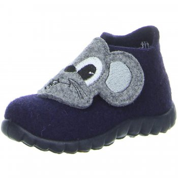 Войлочные тапочки Happy (синий с мышонком)Обувь<br>Материал<br>Верх: Войлок<br>Подошва: полимерные материалы<br>Подкладка (внутренний материал): войлок<br>Описание<br>Уютные домашние тапочки из 100% шерсти станут любимой обувью ребенка для дома и садика в холодное время года. Усиленный задник надежно фиксируют ножку ребенка, а вентилируемая не скользящая подошва обеспечит максимальный комфорт.<br>Функциональные элементы: застежка на липучку, не скользящая подошва с отверстиями для вентиляции. <br>Производитель: Superfit (Австрия)<br>Коллекция Осень/Зима 2016<br>Страна производства: Индия<br>Производятся в размерах от 19 до 30<br>Температурный режим<br>Для ношения в помещении<br>; Размеры в наличии: 20, 21, 22, 23, 24, 25, 26, 27, 28, 29, 30.<br>