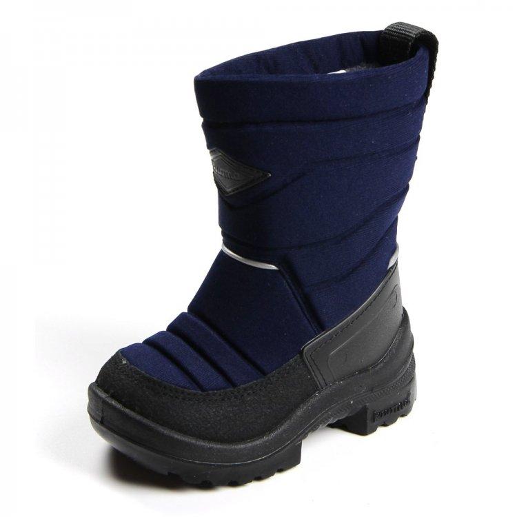 Сапожки Putkivarsi детские (синий)Обувь<br>Материал<br>Верх: текстиль<br>Подошва: полиуретан<br>Подкладка: искусственный мех<br>Описание<br>Удобные и легкие сапоги Kuoma Putkivarsi согреют ножки ребенка даже в самые лютые морозы. Зимние сапожки выполнены из грязе- и водоотталкивающего материала. Устойчивая, прочная и гибкая подошва с протектором. Светоотражающие полоски 3М Scotchlite для безопасности. Теплая стелька и подкладка из ворса, который не скатывается при носке.<br>Производитель: Kuomiokoski OY (Финляндия)<br>Страна производства: Финляндия<br>Температурный режим<br>До -30 градусов.<br>Уход<br>Очищайте обувь от загрязнений с помощью влажной губки. При необходимости обувь Kuoma можно стирать в стиральной машинке или вручную при температуре не выше 40 градусов. Перед стиркой вынуть стельку. Сушка при температуре не выше 40 градусов. После стирки рекомендуется обрабатывать обувь водо- и грязеотталкивающими аэрозолями.<br>; Размеры в наличии: 20, 21, 22, 23, 24, 25, 26, 27, 28, 29, 30, 31, 32, 33, 34, 35, 36, 37, 38, 39.<br>